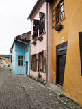 Street in Sighisoara. Colorful houses on a street in Sighisoara Ciitadel Royalty Free Stock Photo