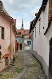 Street in Sighisoara medieval city, Romania Royalty Free Stock Photos