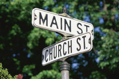 Street sign. Sign post at corner of Main St. and Church St royalty free stock photos