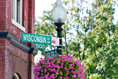 Street sign. Wisconsin Avenue sign at Georgetown, Washington D.C Stock Photography