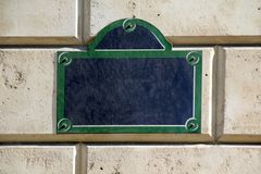 Street sign. Empty street sign from Paris, France Royalty Free Stock Photos