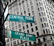 Street sign. Central park south and grand army plaza traffic street sign in new york Royalty Free Stock Photo