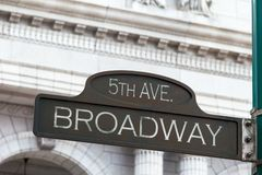 Street Sign. A corroding bronze street sign indicating 5th avenue and Broadway intersection Stock Photos