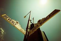 Street Sign. Corner Santa Monica Bulevard - Beveryl Drive Stock Photography