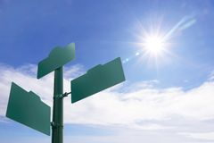 Street sign. Blank Green street sign  on blue sky Stock Images