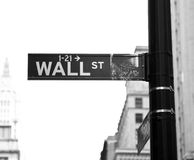 Street sign. In New York , Wall street stock photos