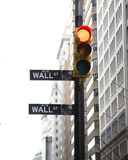 Street sign. In New York , Wall street ,red light stock photography