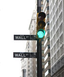 Street sign. In New York , Wall street ,green light royalty free stock photo