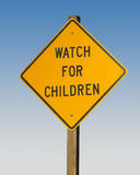 Street sign. Watch for children sign royalty free stock photos