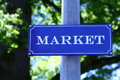Street Sign. Which says Market stock photography