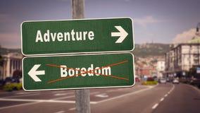 Street Sign Adventure versus Boredom. Street Sign to Adventure versus Boredom royalty free stock photo