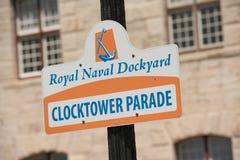 Royal Naval Dockyard signage in Bermuda Royalty Free Stock Images