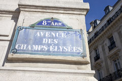 Champs-Elysees Avenue Street Sign Royalty Free Stock Image