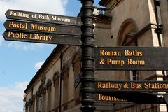 Street sign in Bath. Somerset, England - showing ways to the city attractions: Building of Bath Museum, Postal Museum, Public library, Roman Baths and Pump Stock Photo