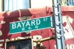 Street sign Bayard street in Soho. New York Royalty Free Stock Photos