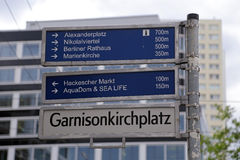 Street sign in Berlin with some wellknown landmarks on it Stock Image