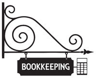 Street sign bookkeeping Stock Images
