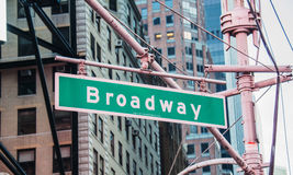Street sign on Broadway. On bright day Stock Photos
