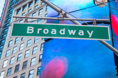 Street sign on Broadway. On bright day Royalty Free Stock Image