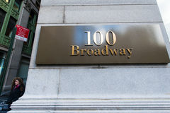 Street sign on Broadway. On bright day Royalty Free Stock Photography