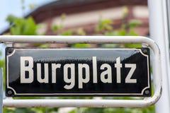 Street sign of Burgplatz in Dusseldorf Royalty Free Stock Photo