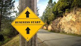 Street Sign BUSINESS START. Way royalty free illustration