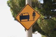Street sign  car and bike lane Stock Photos