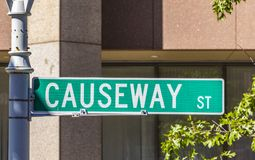 Street sign causewas Street downtown Boston, Massachusetts Stock Images