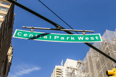 Street sign  Central Park West in New York City Stock Image
