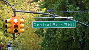 Street sign Central Park West USA cityscapes stock footage