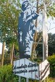 Street sign with Che Guevara in Memorial of train in Santa Clara Royalty Free Stock Photos