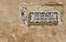 Street sign in the city of Mdina. That was founded as Maleth in around the 8th century BC by Phoenician settlers on the island of Malta royalty free stock photos