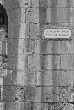 Street sign in the city of Mdina. That was founded as Maleth in around the 8th century BC by Phoenician settlers on the island of Malta. Black and white picture stock photo