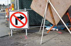 Street Sign at Construction Site Stock Photography
