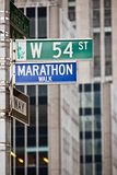 Street sign at corner of 6th Avenue and 54th Street in New York City Royalty Free Stock Photography