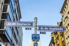 Street sign an der hauptwache Stock Image