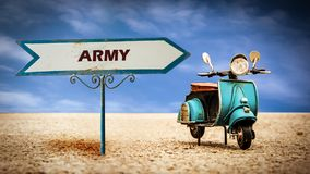 Street Sign to Army. Street Sign the Direction Way to Army stock photos