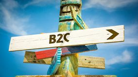Street Sign to B2C. Street Sign the Direction Way to B2C royalty free stock image