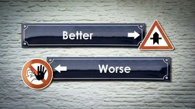 Street Sign Better versus Worse. Street Sign the Direction Way to Better versus Worse stock photo