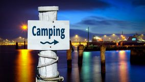 Street Sign to Camping. Street Sign the Direction Way to Camping royalty free stock photography