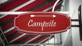 Street Sign to Campsite. Street Sign the Direction Way to Campsite royalty free stock photos