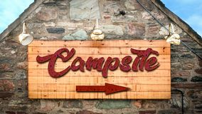 Street Sign to Campsite. Street Sign the Direction Way to Campsite stock image