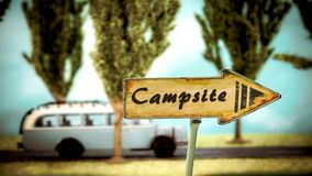 Street Sign to Campsite. Street Sign the Direction Way to Campsite stock images