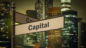 Street Sign to Capital. Street Sign the Direction Way to Capital stock images