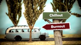Street Sign to Chillout versus Burnout. Street Sign the Direction Way to Chillout versus Burnout royalty free stock images