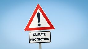 Street Sign to CLIMATE PROTECTION. Street Sign the Direction Way to CLIMATE PROTECTION stock photography