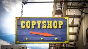 Street Sign to Copy Shop. Street Sign the Direction Way to Copy Shop royalty free stock photography