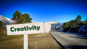 Street Sign to Creativity. Street Sign the Direction Way to Creativity stock photos