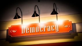 Street Sign to Democracy. Street Sign the Direction Way to Democracy stock photo