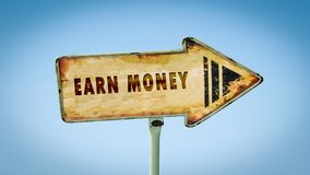 Street Sign Earn Money. Street Sign the Direction Way to Earn Money royalty free stock images